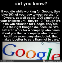 "Amazon, Apple, and Children: did you know?  If you die while working for Google, they  give 50% of your pay to your partner for  10 years, as well as a $1,000 a month to  your children until they're 19. Though it's  a no-win situation for Google, they feel  it is the right thing to do, because ""it's  better to work for a company who cares  about you than a company who doesn't  And from a company standpoint, that  makes it better to care than not to care.""  Google  PHOTO: MASHABLE  DIDYOUKNOWFACTS.COM It's good to care 👊🏼💯 google interesting job worklife balance 📢 Share the knowledge! Tag your friends in the comments. ➖➖➖➖➖➖➖➖➖➖➖ Want more Did You Know(s)? ➡📓 Buy our book on Amazon: [LINK IN BIO] ➡📱 Download our App: http:-apple.co-2i9iX0u ➡📩 Get daily text message alerts: http:-Fact-Snacks.com ➡📩 Free email newsletter: http:-DidYouKnowFacts.com-Sign-Up- ➖➖➖➖➖➖➖➖➖➖➖ We post different content across our channels. Follow us so you don't miss out! 📍http:-facebook.com-didyouknowblog 📍http:-twitter.com-didyouknowfacts ➖➖➖➖➖➖➖➖➖➖➖ DYN FACTS TRIVIA TIL DIDYOUKNOW NOWIKNOW"