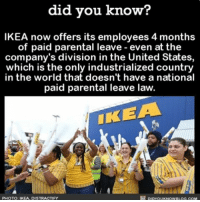 A step in the right direction 🙌🏼💯 love maternityleave babies awesome ➡📱Download our free App: [LINK IN BIO]: did you know?  IKEA now offers its employees 4 months  of paid parental leave even at the  company's division in the United States,  which is the only industrialized country  in the world that doesn't have a national  paid parental leave law.  IKEA  PHOTO: IKEA, DISTRACTIFY A step in the right direction 🙌🏼💯 love maternityleave babies awesome ➡📱Download our free App: [LINK IN BIO]