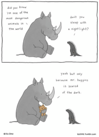 Animals, Memes, and Tumblr: did you know  I'm one of the  most dangerous  animals in  the world  oliz climo  don't  you  sleep with  a night  ight?  yeah but  only  because  mr. huggins  is scared  of the dark.  lizclimo, tumblr, com touché www.thelittleworldofliz.com