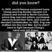 Amazon, Facebook, and Facts: did you know?  In 1839, world-famous conjoined twins  Chang and Eng Bunker became U.S.  citizens and moved to North Carolina,  where they married sisters, purchased  slaves to build their farm, and lived as  devoted Confederates. In 1865, Eng was  drafted into the Civil War, but he didn't  have to fight because Chang's  name was not drawn  PHOTO: GETTY IMAGES  DIDYOUKNOWFACTS.COM That's one way to get out of the war 👬 twins twinlife history 📢 Share the knowledge! Tag your friends in the comments. ➖➖➖➖➖➖➖➖➖➖➖ Want more Did You Know(s)? ➡📱 Download our free App: [LINK IN BIO] ➡📩 Get daily text message alerts: http:-Fact-Snacks.com ➡📓 Buy our book on Amazon: http:-bit.ly-DidYouKnowBook ➡📩 Free email newsletter: http:-DidYouKnowFacts.com-Sign-Up- ➖➖➖➖➖➖➖➖➖➖➖ We post different content across our channels. Follow us so you don't miss out! 📍http:-facebook.com-didyouknowblog 📍http:-twitter.com-didyouknowfacts ➖➖➖➖➖➖➖➖➖➖➖ DYN FACTS TRIVIA TIL DIDYOUKNOW NOWIKNOW