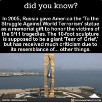 """9/11, Memes, and Grief: did you know?  In 2005, Russia gave America the To the  Struggle Against World Terrorism' statue  as a memorial gift to honor the victims of  the 9/11 tragedies. The 10-foot sculpture  is supposed to be a giant Tear of Grief,""""  but has received much criticism due to  its resemblance of... other things.  PHOTO: DRAGON LAFFS  DIDYOUKNOWFACTS.COM Tear of Grief or...? 💦 interesting funny russia gift worldtradecenter ➡📱Download our free App: [LINK IN BIO]"""