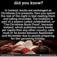 This sounds magical ✨ christmas christmaseve amazing iceland snowboots 📢 Share the knowledge! Tag your friends in the comments. ➖➖➖➖➖➖➖➖➖➖➖ Want more Did You Know(s)? ➡📓 Buy our book on Amazon: [LINK IN BIO] ➡📱 Download our App: http:-apple.co-2i9iX0u ➡📩 Get daily text message alerts: http:-Fact-Snacks.com ➡📩 Free email newsletter: http:-DidYouKnowFacts.com-Sign-Up- ➖➖➖➖➖➖➖➖➖➖➖ We post different content across our channels. Follow us so you don't miss out! 📍http:-facebook.com-didyouknowblog 📍http:-twitter.com-didyouknowfacts ➖➖➖➖➖➖➖➖➖➖➖ DYN FACTS TRIVIA TIL DIDYOUKNOW NOWIKNOW: did you know?  In lceland, books are exchanged as  Christmas Eve presents, then you spend  the rest of the night in bed reading them  and eating chocolate. The tradition is  part of a season called Jolabokaflod, or  'The Christmas Book Flood', becau  se  Iceland, which publishes more books  per capita than any other country, sells  most of its books between September  and November due to people preparing  for the upcoming holiday  PHOTO: RSSING.COM  DIDYOUKNOWBLOG.cOM This sounds magical ✨ christmas christmaseve amazing iceland snowboots 📢 Share the knowledge! Tag your friends in the comments. ➖➖➖➖➖➖➖➖➖➖➖ Want more Did You Know(s)? ➡📓 Buy our book on Amazon: [LINK IN BIO] ➡📱 Download our App: http:-apple.co-2i9iX0u ➡📩 Get daily text message alerts: http:-Fact-Snacks.com ➡📩 Free email newsletter: http:-DidYouKnowFacts.com-Sign-Up- ➖➖➖➖➖➖➖➖➖➖➖ We post different content across our channels. Follow us so you don't miss out! 📍http:-facebook.com-didyouknowblog 📍http:-twitter.com-didyouknowfacts ➖➖➖➖➖➖➖➖➖➖➖ DYN FACTS TRIVIA TIL DIDYOUKNOW NOWIKNOW