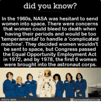 Amazon, Apple, and Facebook: did you know?  In the 1960s, NASA was hesitant to send  women into space. There were concerns  that women could bleed to death when  having their periods and would be too  'temperamental' to handle a 'complicated  machine'. They decided women wouldn't  be sent to space, but Congress passed  the Equal Opportunity Employment Act  in 1972, and by 1978, the first 6 women  were brought into the astronaut corps.  PHOTO: NASA  DIDYOUKNOWFACTS.COM Women got this. 👌🏼💯 women nasa wow laws 📢 Share the knowledge! Tag your friends in the comments. ➖➖➖➖➖➖➖➖➖➖➖ Want more Did You Know(s)? ➡📓 Buy our book on Amazon: [LINK IN BIO] ➡📱 Download our App: http:-apple.co-2i9iX0u ➡📩 Get daily text message alerts: http:-Fact-Snacks.com ➡📩 Free email newsletter: http:-DidYouKnowFacts.com-Sign-Up- ➖➖➖➖➖➖➖➖➖➖➖ We post different content across our channels. Follow us so you don't miss out! 📍http:-facebook.com-didyouknowblog 📍http:-twitter.com-didyouknowfacts ➖➖➖➖➖➖➖➖➖➖➖ DYN FACTS TRIVIA TIL DIDYOUKNOW NOWIKNOW