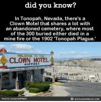 Dank, Facts, and Fire: did you know?  In Tonopah, Nevada, there's a  Clown Motel that shares a lot with  an abandoned cemetery, where most  of the 300 buried either died in a  mine fire or the 1902 Tonopah Plague.  WELCOME TO THE  CLOWN MOTEL  OFFICE  DIDYouK Now BLOG coM  PHOTO: ROADTRIPPERS This place sounds nice.  Get Did You Know(s) via text message ➡ http://fact-snacks.com