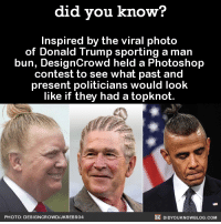 """Donald Trump, Man Bun, and Photoshop: did you know?  Inspired by the viral photo  of Donald Trump sporting a man  bun, DesignCrowd held a Photoshop  contest to see what past and  present politicians would look  like if they had a topknot.  PHOTO: DESIGNCROWDIJKREBS04  DIDYOUKNOWBLOG.COM <p><a href=""""http://didyouknowblog.com/post/132976391615/there-were-101-total-entries-including-george"""" class=""""tumblr_blog"""">did-you-kno</a>:</p>  <blockquote><figure class=""""tmblr-full"""" data-orig-height=""""288"""" data-orig-width=""""779""""><img src=""""https://78.media.tumblr.com/1cde83a0a2089ae21e065797d246251f/tumblr_inline_nxmfbhx5Fr1sjh1ps_540.jpg"""" data-orig-height=""""288"""" data-orig-width=""""779""""/></figure><p>  There were 101 total entries…<br/></p><figure class=""""tmblr-full"""" data-orig-height=""""289"""" data-orig-width=""""704""""><img src=""""https://78.media.tumblr.com/390a6f344f3e7348233108513ebb751a/tumblr_inline_nxmfbnrQU91sjh1ps_540.jpg"""" data-orig-height=""""289"""" data-orig-width=""""704""""/></figure><p>Including George Washingbun (sorry), and Abraman Lincbun (sorry again).</p><figure class=""""tmblr-full"""" data-orig-height=""""615"""" data-orig-width=""""1225""""><img src=""""https://78.media.tumblr.com/91777fec9b3039ade9ae3d2b8e3e4820/tumblr_inline_nxmfbus2tt1sjh1ps_540.jpg"""" data-orig-height=""""615"""" data-orig-width=""""1225""""/></figure><p>Also Kim Jong Bun (still sorry)…</p><figure class=""""tmblr-full"""" data-orig-height=""""635"""" data-orig-width=""""1159""""><img src=""""https://78.media.tumblr.com/bb8508307ef5a0fd58fac37a04c63c82/tumblr_inline_nxmfcbLZa51sjh1ps_540.jpg"""" data-orig-height=""""635"""" data-orig-width=""""1159""""/></figure><p>And Ronald Reabun (no more, I promise).</p><figure class=""""tmblr-full"""" data-orig-height=""""672"""" data-orig-width=""""1203""""><img src=""""https://78.media.tumblr.com/c0c5b163d8b1deceddd3cf08ede8c66a/tumblr_inline_nxmfkkluTT1sjh1ps_540.jpg"""" data-orig-height=""""672"""" data-orig-width=""""1203""""/></figure><p><a href=""""http://blog.designcrowd.com.au/article/691/politicians-past-and-present-from-around-the-world-are-given-a-man-bun"""">Source</a></p></block"""