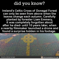 Amazon, Apple, and Beautiful: did you know?  Ireland's Celtic Cross of Donegal Forest  can only be seen from above when the  leaves change each autumn. Carefully  planted by forester Liam Emmery  it was completely forgotten about  after he died- until 10 years later, when  a nearby filmmaker launched a drone and  found a surprise hidden in his footage.  PHOTO: EYE IN THE SKY  DIDYOUKNOWFACTs.coM What a surprise to stumble upon! 🌲🍂 surprise leaves beautiful ireland celticcross 📢 Share the knowledge! Tag your friends in the comments. ➖➖➖➖➖➖➖➖➖➖➖ Want more Did You Know(s)? ➡📓 Buy our book on Amazon: [LINK IN BIO] ➡📱 Download our App: http:-apple.co-2i9iX0u ➡📩 Get daily text message alerts: http:-Fact-Snacks.com ➡📩 Free email newsletter: http:-DidYouKnowFacts.com-Sign-Up- ➖➖➖➖➖➖➖➖➖➖➖ We post different content across our channels. Follow us so you don't miss out! 📍http:-facebook.com-didyouknowblog 📍http:-twitter.com-didyouknowfacts ➖➖➖➖➖➖➖➖➖➖➖ DYN FACTS TRIVIA TIL DIDYOUKNOW NOWIKNOW