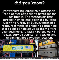 Dank, Subway, and Inbox: did you know?  Ironworkers building NYC's One World  Trade Center often didn't have time for  lunch breaks. The mechanism that  carried them up and down the building  wasn't very fast, so Subway created a  restaurant made of shipping containers  that could be hoisted up as the workers  changed floors. It had a kitchen, walk-in  freezer, service counter, and tables and  chairs just like any other location  SUBWAY  DIDYOUKNOWBLOG.coM  PHOTO: PORT AUTHORITY NJ & NY/FRED R. CONRAD. NYT Great idea for these hard workers! 🚧👷  Get exclusive Did You Know(s) in your inbox ➡ http://goo.gl/iRFFE7