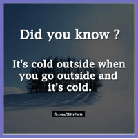 Memes, fb.com, and Cold: Did you know?  It's cold outside when  you go outside and  it's cold.  fb.com/ShityFacts