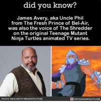 Worlds colliding 😮 interesting tv freshprinceofbelair sitcom ➡📱Download our free App: [LINK IN BIO]: did you know?  James Avery, aka Uncle Phil  from The Fresh Prince of Bel  was also the voice of The Shredder  on the original Teenage Mutant  Ninja Turtles animated TV series.  DIDYOUKNOWFACTs.coM  PHOTO: NBCU/GETTY IMAGESMYOUTUBE Worlds colliding 😮 interesting tv freshprinceofbelair sitcom ➡📱Download our free App: [LINK IN BIO]
