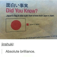 I did not know this fun fact.: Did You Know?  Japan's flag is also a pie chart of how much Japan is Japan.  Japan is apan  posand payments. We cant gi  enfor Credit Card jinshuki:  Absolute brilliance I did not know this fun fact.