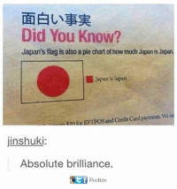 pie chart: Did You Know?  Japan's flag is also a pie chart of how much Japan is Japan.  Japan is apan  entar and Credit Card payments We  jinshuki:  Absolute brilliance.  Citf Postize