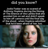 Amazon, Anthony Hopkins, and Apple: did you know?  Jodie Foster was so scared of  Anthony Hopkins during the filming  of The Silence of the Lambs that she  avoided him on set and didn't speak  to him off camera until the final day  of the shoot when Hopkins admitted  that he'd been afraid of her, too.  DIDYouKNowFACTs.coM  PHOTO: ROGER EBERT. COM I'd be scared of him too. movies anthonyhopkins interesting movieset Share the knowledge! Tag your friends in the comments. ➖➖➖➖➖➖➖➖➖➖➖ Want more Did You Know(s)? ➡📓 Buy our book on Amazon: [LINK IN BIO] ➡📱 Download our App: http:-apple.co-2i9iX0u ➡📩 Get daily text message alerts: http:-Fact-Snacks.com ➡📩 Free email newsletter: http:-DidYouKnowFacts.com-Sign-Up- ➖➖➖➖➖➖➖➖➖➖➖ We post different content across our channels. Follow us so you don't miss out! 📍http:-facebook.com-didyouknowblog 📍http:-twitter.com-didyouknowfacts ➖➖➖➖➖➖➖➖➖➖➖ DYN FACTS TRIVIA TIL DIDYOUKNOW NOWIKNOW