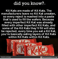 Amazon, Apple, and Candy: did you know?  Kit Kats are made of Kit Kats. The  manufacturers leave no Kit Kat uneaten  so every reject is mashed into a paste  that's used to fill the wafers. Because  every imperfect Kit Kat was already  filled with other imperfect Kit Kats, and  some of the Kit Kats they'll fill will also  be rejected, every time you eat a Kit Kat,  you're basically eating layers of Kit Kats  within Kit Kats within Kit Kats.  PHOTO: ISTOCK  DIDYOUKNOWFACTS.COM Kit Kat inception 😵 candy kitkat halloweencandy noms sweets 📢 Share the knowledge! Tag your friends in the comments. ➖➖➖➖➖➖➖➖➖➖➖ Want more Did You Know(s)? ➡📓 Buy our book on Amazon: [LINK IN BIO] ➡📱 Download our App: http:-apple.co-2i9iX0u ➡📩 Get daily text message alerts: http:-Fact-Snacks.com ➡📩 Free email newsletter: http:-DidYouKnowFacts.com-Sign-Up- ➖➖➖➖➖➖➖➖➖➖➖ We post different content across our channels. Follow us so you don't miss out! 📍http:-facebook.com-didyouknowblog 📍http:-twitter.com-didyouknowfacts ➖➖➖➖➖➖➖➖➖➖➖ DYN FACTS TRIVIA TIL DIDYOUKNOW NOWIKNOW