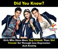 Friends, Girls, and Anxiety: Did You Know?  LAUGHING  Girls Who Have More 'Guy Friends' Than 'Girl  Friends' Go Through Less Depression  And Anxiety.