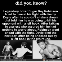 Um, YIKES.  Get exclusive Did You Know(s) via text message ➡ http://fact-snacks.com: did you know?  Legendary boxer Sugar Ray Robinson  tried to cancel his fight with Jimmy  Doyle after he couldn't shake a dream  that told him he was going to kill his  opponent with a left hook. After talking  to a priest who assured him he had  nothing to worry about, Robinson went  ahead with the fight. Doyle died the  next day, after being knocked out by  a left hook in the 8th round  DIDYOUKNOWBLOG.coM  PHOTO: WIKIPEDIA, EARLIORAKSHRINE Um, YIKES.  Get exclusive Did You Know(s) via text message ➡ http://fact-snacks.com