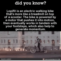 Dank, Scooter, and Shopping: did you know?  Lopifit is an electric walking bike  that's more like a treadmill on top  of a scooter. The bike is powered by  a motor that pushes it into motion,  then eventually works in tandem with  your footsteps, which also help to  generate momentum  PHOTO LOPMFIT It's not cheap, but you can buy one: https://lopifit.com/shop/