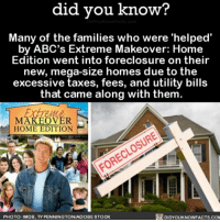Apple, Memes, and Taxes: did you know?  Many of the families who were 'helped  by ABC's Extreme Makeover: Home  Edition went into foreclosure on their  new, mega-size homes due to the  excessive taxes, fees, and utility bills  that came along with them  MAKEOVER  HOME EDITION  DIDYOUKNOWFACTS.coM  PHOTO: IMDB, TYPENNINGTONIADOBESTOCK Yikes! 🙈🏡 homemakeover hgtv yikes forclosure ➡📱Download our free App: http:-apple.co-2i9iX0u