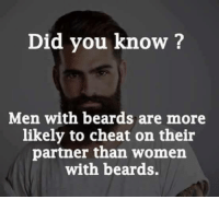 Cheating Men: Did you know?  Men with beards are more  likely to cheat on their  partner than women  with beards.