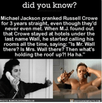 """Amazon, Facebook, and Facts: did you know?  Michael Jackson pranked Russell Crowe  for 3 years straight, even though they'd  never even met. When M.J. found out  that Crowe stayed at hotels under the  last name Wall, he started calling his  rooms all the time, saying: """"Is Mr. Wall  there? Is Mrs. Wall there? Then what's  holding the roof up?! Ha ha.""""  PHOTO: MJWORLDICINEMACLUB  KNOWN FACTS, COM Such a prankster...😅 michaeljackson funny prank 📢 Share the knowledge! Tag your friends in the comments. ➖➖➖➖➖➖➖➖➖➖➖ Want more Did You Know(s)? ➡📱 Download our free App: [LINK IN BIO] ➡📩 Get daily text message alerts: http:-Fact-Snacks.com ➡📓 Buy our book on Amazon: http:-bit.ly-DidYouKnowBook ➡📩 Free email newsletter: http:-DidYouKnowFacts.com-Sign-Up- ➖➖➖➖➖➖➖➖➖➖➖ We post different content across our channels. Follow us so you don't miss out! 📍http:-facebook.com-didyouknowblog 📍http:-twitter.com-didyouknowfacts ➖➖➖➖➖➖➖➖➖➖➖ DYN FACTS TRIVIA TIL DIDYOUKNOW NOWIKNOW"""