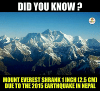 Mount Everest, Earthquake, and Nepal: DID YOU KNOW  MOUNT EVEREST SHRANK1INCH (2. CMD  DUE TO THE 2015 EARTHQUAKE IN NEPAL Reality Check.. :O