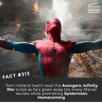 Andrew Bogut, Memes, and Movies: DID YOU KNOw  MOVIES  110  FACT #313  Tom Holland hasn't read the Avengers: Infinity  War script as he's given away too many Marvel  secrets while promoting Spiderman:  Homecoming Who's seen Homecoming and what did you think? I'm going this weekend! 🎥 • • • • Double Tap and Tag someone who needs to know this 👇 All credit to the respective film and producers. movie movies film tv camera cinema fact didyouknow moviefacts cinematography screenplay director actor actress act acting movienight cinemas watchingmovies hollywood bollywood didyouknowmovies