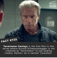 "Arnold Schwarzenegger, Memes, and Movies: DID YOU KNOw  MOVIES  1e  FACT #725  Terminator Genisys is the first film in the  series where Arnold Schwarzenegger is not  credited as ""Terminator"" in the ending  credits. Rather, he is named ""Guardian"". Do you want the new reboot or should they just let it die? 🎥 • • • • Double Tap and Tag someone who needs to know this 👇 All credit to the respective film and producers. movie movies film tv cinema fact didyouknow moviefacts cinematography screenplay director movienight hollywood netflix didyouknowmovies academyawards terminator lift"