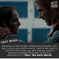 Chris Hemsworth, Meh, and Memes: DID YOU KNOW  MOVIES  FACT #1024  Because of the height difference between the  two, a box, and later a ramp, had to be used in  some of the close-up, and kissing scenes  between Natalie Portman and Chris  Hemsworth in Thor: The Dark World. Chris Hemsworth recently deemed this film 'meh', do you agree?🎬🎥 • • • • Double Tap and Tag someone who needs to know this 👇 All credit to the respective film and producers. Movie Movies Film TV Cinema MovieNight Hollywood thorthedarkworld thedarkworld thor avengers infinitywar marvel marvelcomics