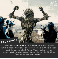 Memes, Mixed Race, and Movies: DID YOU KNoW  MOVIES  FACT #1028  The title, District 9, is a nod to a real place  and a real incident. District 6 was a mixed race  neighborhood of Cape Town which the  apartheid government demolished in 1966 to  make room for whites What's the best movie about aliens?🎬🎥 • • • • Double Tap and Tag someone who needs to know this 👇 All credit to the respective film and producers. Movie Movies Film TV Cinema MovieNight Hollywood district9 aliens district6 NeillBlomkamp
