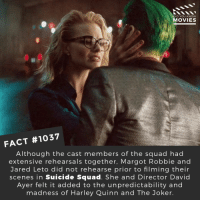 Are you looking forward to Suicide Squad 2?🎬🎥 • • • • Double Tap and Tag someone who needs to know this 👇 All credit to the respective film and producers. Movie Movies Film TV Cinema MovieNight Hollywood suicidesquad thejoker margotrobbie harleyquinn jaredleto dc DCcomics joker batman: DID YOU KNOW  MOVIES  FACT #1037  Although the cast members of the squad had  extensive rehearsals together, Margot Robbie and  Jared Leto did not rehearse prior to filming their  scenes in Suicide Squad. She and Director David  Ayer felt it added to the unpredictability and  madness of Harley Quinn and The Joker Are you looking forward to Suicide Squad 2?🎬🎥 • • • • Double Tap and Tag someone who needs to know this 👇 All credit to the respective film and producers. Movie Movies Film TV Cinema MovieNight Hollywood suicidesquad thejoker margotrobbie harleyquinn jaredleto dc DCcomics joker batman