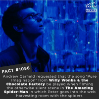"Memes, Movies, and Netflix: DID YOU KNOW  MOVIES  FACT #1056  Andrew Garfield requested that the song ""Pure  Imagination"" from Willy Wonka & the  Chocolate Factory be played when filming  the otherwise silent scene in The Amazing  Spider-Man in which Peter goes into the web  harvesting room with the spiders. Who is your favorite version of Spider-Man?📽️🎬 • • • • Double Tap and Tag someone who needs to know this 👇 All credit to the respective film and producers. Movie Movies Film TV Cinema MovieNight Hollywood Netflix AcademyAwards spiderman andrewgarfield tomholland marvel marvelstudios infinitywar theamazingspiderman"