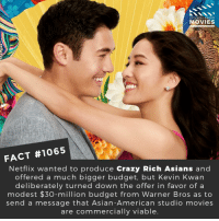Asian, Crazy, and Memes: DID YOU KNOW  MOVIES  FACT #1065  Netflix wanted to produce Crazy Rich Asians and  offered a much bigger budget, but Kevin Kwan  deliberately turned down the offer in favor of a  modest $30-million budget from Warner Bros as to  send a message that Asian-American studio movies  are commercially viable Have you seen Crazy Rich Asians yet?📽️🎬 • • • • Double Tap and Tag someone who needs to know this 👇 All credit to the respective film and producers. Movie Movies Film TV Cinema MovieNight Hollywood Netflix AcademyAwards crazyrichasians crazyrichasiansmovie gemmachan astridleong kevinkwan