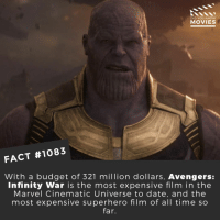 Favorite superhero movie??🎬 • • • • Double Tap and Tag someone who needs to know this 👇 All credit to the respective film and producers. Movie Movies Film TV Cinema MovieNight Hollywood Netflix AcademyAwards avengersinfinitywar thanos theavengers avengers infinitywar: DID YOU KNOW  MOVIES  FACT #1083  With a budget of 321 million dollars, Avengers:  Infinity War is the most expensive film in the  Marvel Cinematic Universe to date, and the  most expensive superhero film of all time so  far. Favorite superhero movie??🎬 • • • • Double Tap and Tag someone who needs to know this 👇 All credit to the respective film and producers. Movie Movies Film TV Cinema MovieNight Hollywood Netflix AcademyAwards avengersinfinitywar thanos theavengers avengers infinitywar
