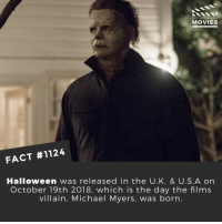 Have you seen Halloween yet?📽️🎬 • • • • Double Tap and Tag someone who needs to know this 👇 All credit to the respective film and producers. Movie Movies Film TV Cinema MovieNight Hollywood Netflix AcademyAwards halloween mikemyers michealmyers jamieleighcurtis: DID YOU KNOW  MOVIES  FACT #1124  Halloween was released in the U.K. & U.S.A on  October 19th 2018, which is the day the films  villain, Michael Myers, was born. Have you seen Halloween yet?📽️🎬 • • • • Double Tap and Tag someone who needs to know this 👇 All credit to the respective film and producers. Movie Movies Film TV Cinema MovieNight Hollywood Netflix AcademyAwards halloween mikemyers michealmyers jamieleighcurtis