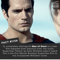"What is the best movie theme of all time?📽️🎬 • • • • Double Tap and Tag someone who needs to know this 👇 All credit to the respective film and producers. Movie Movies Film TV Cinema MovieNight Hollywood Netflix DCcomics MANOFSTEEL Superman dc henrycavill: DID YOU KNOW  MOVIES  FACT #1159  To completely distinguish Man of Steel as a new  film separate from previous ones, the iconic  ""Superman Theme"" by John Williams wasn't heard.  This is the first Warner Brothers Superman film to  not incorporate Williams' score. What is the best movie theme of all time?📽️🎬 • • • • Double Tap and Tag someone who needs to know this 👇 All credit to the respective film and producers. Movie Movies Film TV Cinema MovieNight Hollywood Netflix DCcomics MANOFSTEEL Superman dc henrycavill"
