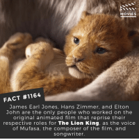 Beyonce, Disney, and Memes: DID YOU KNOW  MOVIES  FACT #1164  James Earl Jones, Hans Zimmer, and Elton  John are the only people who worked on the  original animated film that reprise their  respective roles for The Lion King, as the voice  of Mufasa, the composer of the film, and  songwriter What do you think of the first teaser trailer?😄📽️🎬 • • • • Double Tap and Tag someone who needs to know this 👇 All credit to the respective film and producers. Movie Movies Film TV Cinema MovieNight Hollywood Netflix thelionking lionking disney beyonce donaldglover eltonjohn