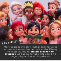 Have you seen Ralph Breaks the Internet yet??📽️🎬 • • • • Double Tap and Tag someone who needs to know this 👇 All credit to the respective film and producers. Movie Movies Film TV Cinema MovieNight Hollywood Netflix wreckitralph ralphbreakstheinternet disney disneyprincess: DID YOU KNOW  MOVIES  FACT #1171  Mary Costa is the only (living) original voice  actress not to reprise her role as the Disney  Princess Aurora for Ralph Breaks the  Internet. As due to her age, she could no  longer play a 16 year old princess. Have you seen Ralph Breaks the Internet yet??📽️🎬 • • • • Double Tap and Tag someone who needs to know this 👇 All credit to the respective film and producers. Movie Movies Film TV Cinema MovieNight Hollywood Netflix wreckitralph ralphbreakstheinternet disney disneyprincess
