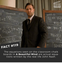 Favourite Russell Crowe movie? . . . . . All credit to the respective film and producers. movie movies film tv camera cinema fact didyouknow moviefacts cinematography screenplay director actor actress act acting movienight cinemas watchingmovies hollywood bollywood didyouknowmovies: DID YOU KNOW  MOVIES  FACT #119  The equations seen on the classroom chalk  boards in A Beautiful Mind are actual equa-  tions written by the real life John Nash Favourite Russell Crowe movie? . . . . . All credit to the respective film and producers. movie movies film tv camera cinema fact didyouknow moviefacts cinematography screenplay director actor actress act acting movienight cinemas watchingmovies hollywood bollywood didyouknowmovies