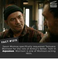 Have you seen Aquaman yet?📽️🎬 • • • • Double Tap and Tag someone who needs to know this 👇 All credit to the respective film and producers. Movie Movies Film TV Cinema MovieNight Hollywood Netflix aquaman dccomics DCEU DC jasonmomoa: DID YOU KNOW  MOVIES  FACT #1215  Jason Momoa specifically requested Temuera  Morrison for the role of Arthur's father, Tom in  Aquaman. Morrison is one of Momoa's acting  idols. Have you seen Aquaman yet?📽️🎬 • • • • Double Tap and Tag someone who needs to know this 👇 All credit to the respective film and producers. Movie Movies Film TV Cinema MovieNight Hollywood Netflix aquaman dccomics DCEU DC jasonmomoa