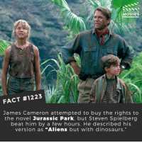 "Jurassic Park, Memes, and Movies: DID YOU KNOW  MOVIES  FACT #1223  James Cameron attempted to buy the rights to  the novel Jurassic Park, but Steven Spielberg  beat him by a few hours. He described his  version as ""Aliens but with dinosaurs."" Would you liked to have seen the Cameron version?📽️🎬 • • • • Double Tap and Tag someone who needs to know this 👇 All credit to the respective film and producers. Movie Movies Film TV Cinema MovieNight Hollywood Netflix jamescameron jurassicpark stevespielberg dinosaurs"