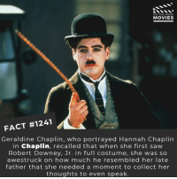 📽️🎬 • • • • Double Tap and Tag someone who needs to know this 👇 All credit to the respective film and producers. Movie Movies Film TV Cinema MovieNight Hollywood Netflix robertdowneyjr chaplin charliechaplin: DID YOU KNOW  MOVIES  FACT #1241  Geraldine Chaplin, who portrayed Hannah Chaplirn  in Chaplin, recalled that when she first saw  Robert Downey, Jr. in full costume, she was so  awestruck on how much he resembled her late  father that she needed a moment to collect her  thoughts to even speak 📽️🎬 • • • • Double Tap and Tag someone who needs to know this 👇 All credit to the respective film and producers. Movie Movies Film TV Cinema MovieNight Hollywood Netflix robertdowneyjr chaplin charliechaplin