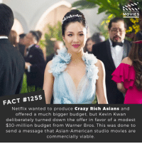 Asian, Crazy, and Memes: DID YOU KNow  MOVIES  FACT #1255  Netflix wanted to produce Crazy Rich Asians and  offered a much bigger budget, but Kevin Kwan  deliberately turned down the offer in favor of a modest  $30-million budget from Warner Bros. This was done to  send a message that Asian-American studio movies are  commercially viable 🔥🔥📽️🎬 • • • • Double Tap and Tag someone who needs to know this 👇 All credit to the respective film and producers. Movie Movies Film TV Cinema MovieNight Hollywood Netflix crazyrichasisans CRA