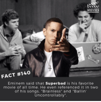 "Eminem, Memes, and Superbad: DID YOU KNOW  MOVIES  FACT #140  Eminem said that Superbad is his favorite  movie of all time. He even referenced it in two  of his songs, Brainless"" and Ballin'  Uncontrollably"" Who is your favourite Rapper? . . . . . All credit to the respective film and producers. movie movies film tv camera cinema fact didyouknow moviefacts cinematography screenplay director actor actress act acting movienight cinemas watchingmovies hollywood bollywood didyouknowmovies"