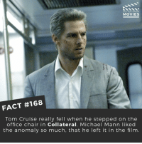 Memes, Tom Cruise, and Cruise: DID YOU KNOW  MOVIES  FACT #168  Tom Cruise really fell when he stepped on the  office chair in Collateral. Michael Mann liked  the anomaly so much, that he left it in the film Search it up on YouTube. It's pretty funny to watch. . . . . . All credit to the respective film and producers. movie movies film tv camera cinema fact didyouknow moviefacts cinematography screenplay director actor actress act acting movienight cinemas watchingmovies hollywood bollywood didyouknowmovies
