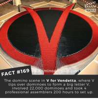That's a lot of time and effort! . . . . . All credit to the respective film and producers. movie movies film tv camera cinema fact didyouknow moviefacts cinematography screenplay director actor actress act acting movienight cinemas watchingmovies hollywood bollywood didyouknowmovies: DID YOU KNOW  MOVIES  FACT #169  no  The domino scene in V for Vendetta, where V  tips over dominoes to form a big letter V,  involved 22,OOO dominoes and took 4  professional assemblers 200 hours to set up That's a lot of time and effort! . . . . . All credit to the respective film and producers. movie movies film tv camera cinema fact didyouknow moviefacts cinematography screenplay director actor actress act acting movienight cinemas watchingmovies hollywood bollywood didyouknowmovies