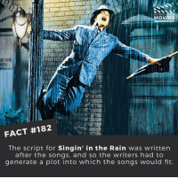 Memes, Movies, and Singing: DID YOU KNOW  MOVIES  FACT #182  The script for Singin' in the Rain was written  after the songs, and so the writers had to  generate a plot into which the songs would fit. I'm singing in the rain! ☔️ . . . . . All credit to the respective film and producers. movie movies film tv camera cinema fact didyouknow moviefacts cinematography screenplay director actor actress act acting movienight cinemas watchingmovies hollywood bollywood didyouknowmovies