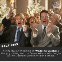 "Jabroni, Memes, and Movies: DID YOU KNOW  MOVIES  FACT #185  At the Italian Wedding in Wedding Crashers,  the guy sitting next to Owen Wilson who laughs  at the ""Jabroni"" joke is Wilson's Uncle. The little things you know 👌 . . . . . All credit to the respective film and producers. movie movies film tv camera cinema fact didyouknow moviefacts cinematography screenplay director actor actress act acting movienight cinemas watchingmovies hollywood bollywood didyouknowmovies"