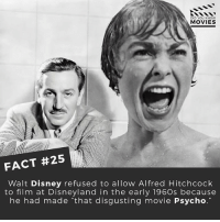 """Disney, Disneyland, and Memes: DID YOU KNOW  MOVIES  FACT #25  Walt Disney refused to allow Alfred Hitchcock  to film at Disneyland in the early 1960s because  he had made that disgusting movie Psycho."""" Who do you think made better movies - Disney or Hitchcock? ------------ All credit to the respective film and producers. movie movies film tv marvel dc starwars jurassicpark camera cinema fact didyouknow didyouknowmovies pixar disney moviefacts"""