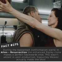🎥 What's your favourite Ripley moment? . . . . Double Tap and Tag someone who needs to know this 👇 All credit to the respective film and producers. movie movies film tv camera cinema fact didyouknow moviefacts cinematography screenplay director actor actress act acting movienight cinemas watchingmovies hollywood bollywood didyouknowmovies: DID YOU KNOW  MOVIES  FACT #275  During the basketball confrontation scene in  Alien Resurrection  the enhanced Ripley clone  makes a perfect backwards shot. This wasn't  added in post production, Sigourney Weaver  actually made the shot! 🎥 What's your favourite Ripley moment? . . . . Double Tap and Tag someone who needs to know this 👇 All credit to the respective film and producers. movie movies film tv camera cinema fact didyouknow moviefacts cinematography screenplay director actor actress act acting movienight cinemas watchingmovies hollywood bollywood didyouknowmovies