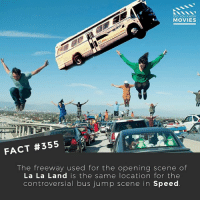 Memes, Movies, and Best: DID YOU KNOW  MOVIES  FACT #355  The freeway used for the opening scene of  La La Land is the same location for the  controversial bus jump scene in Speed Do you like musicals? If so, what's the best musical of all time? 🎥 • • • • Double Tap and Tag someone who needs to know this 👇 All credit to the respective film and producers. movie movies film tv camera cinema fact didyouknow moviefacts cinematography screenplay director actor actress act acting movienight cinemas watchingmovies hollywood bollywood didyouknowmovies