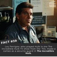 Disney, Memes, and Pixar: DID YOU KNOW  MOVIES  FACT #39  Lou Ferrigno, Who played Hulk in the The  Incredible Hulk TV show from the '70s, made a  cameo as a security guard in The Incredible  Hulk. Which Hulk actor is your favourite? ------------ All credit to the respective film and producers. movie movies film tv marvel dc starwars jurassicpark camera cinema fact didyouknow didyouknowmovies pixar disney moviefacts